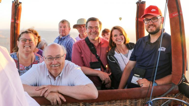 Densley et al. aboard a balloon in Egypt