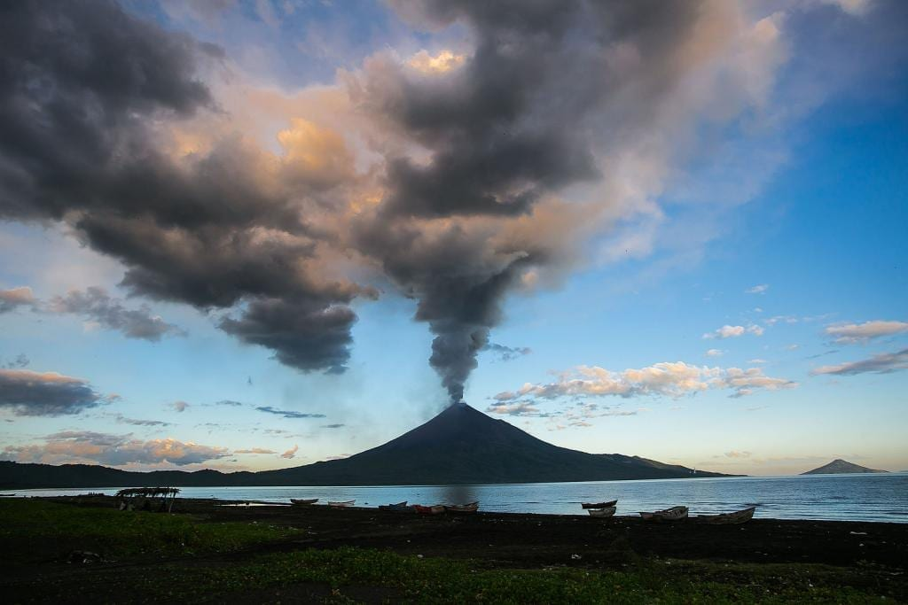 An erupting volcano in Nicaragua
