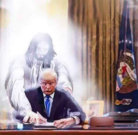 Jesus guides Trump's hand in the oval office