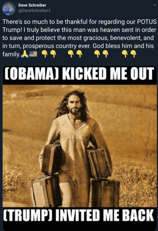 Jesus carrying luggage