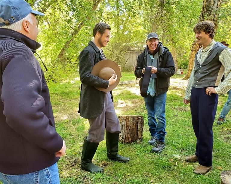 James Jordan with four crew/actors