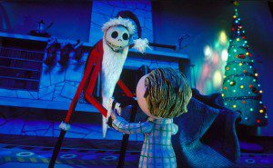 """""""Nightmare Before Christmas"""" Jack Skellington masquerading as Santa. If you haven't seen this film due to your time in the church please give it a view. Charming fun that looks at the nature of holidays."""
