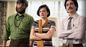 """""""Mad Men"""" Peggy Olson and the two guys she 'controls' in an 'un-Biblical' way - Stan Rizzo and Michael Ginsburg."""