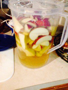 A pitcher of caramel apple martinis containing apples from my trees.