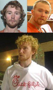 Clockwise from top left: Esten Ciboro upon arrest; in court after abandoning the Three Musketeers hairdo; and in happier times, at a Chick-fil-A opening. Screen captures, Fox 2 Detroit, NBC 24, and indystar.com (Jill Disis photo).