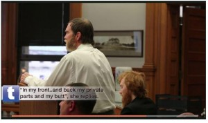 Clockwise: Timothy reacts to his 9-year-old daughter's candid description of being raped by him; Esten looks down; Assistant Prosecutor Frank Spryszak watches. Screen capture from Toledo Blade video.