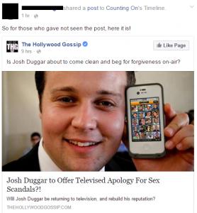 Screen cap of Facebook