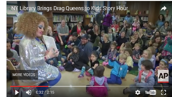 Screen cap from an AP video on the Drag Queen Reading program starting Miss Mess