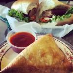 Beef Kabab Sandwich and Chicken Samosa from Gulzaar Halal in San Jose, CA