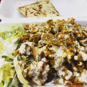 Halal Chicken & Rice plate from Halal Gyro Express Cart in San Jose, CA