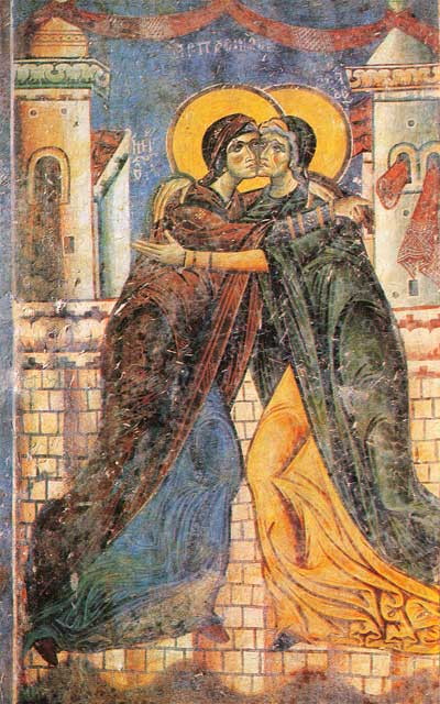 The Embrace of Elizabeth and Mary St. George Church, Kurbinovo, Macedonia