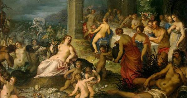 """""""Feast of the Gods"""" by Hans Rottenhammer & Jan Brueghel the Elder.  From WikiMedia."""
