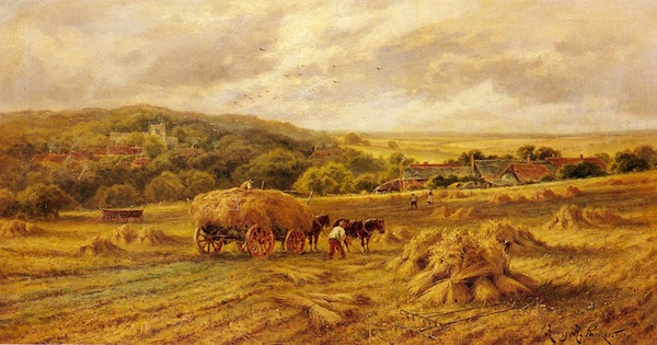 harvest-time-parker-henry-hillier-1858-1930_described-as-lambourne-but-bearing-stricking-resemblance-to-five-arce-field-home-farm-whirleds-end