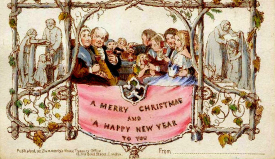 The world's first commercially produced Christmas card, designed by John Callcott Horsley for Henry Cole in 1843.  From WikiMedia.