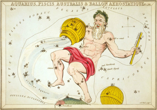 """Aquarius"" from Aquarius printed in 1825 as part of ""Urania's Mirror"" by Sidney Hall.  1824  From WikiMedia."