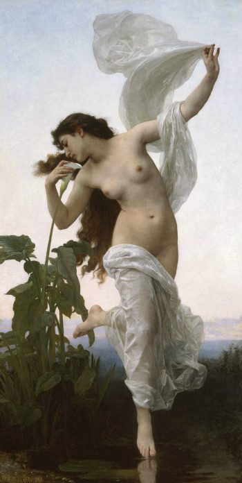 Dawn by William Adolphe Bouguereau from Wikipedia Commons.