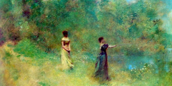 "Thomas Wiler Dewing-""Summer"" (1890).  From WikiMedia Commons."