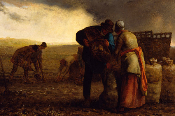 """The Potato Harvest"" by Jean Francois Millet.  From WikiMedia."