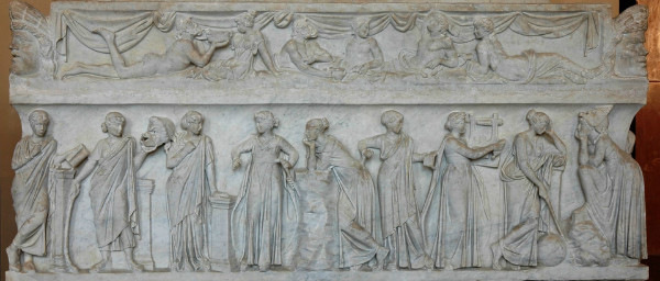 Muses on a Roman sarcophagus, photo by Jastrow, from WikiMedia.