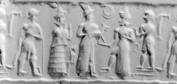Cylinder Seal with a Deity Accepting an Offering, Mesopotamian.  From the Walters Art Museum and WikiMedia.