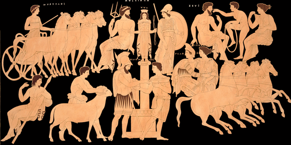 King Oenomaus, Hippodamia, and the Olympian gods.  From Wikipedia.
