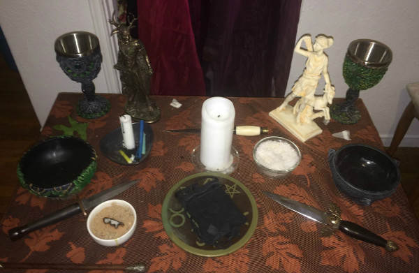 I love my altar usually, but it's kind of a mess in this picture.