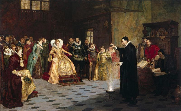 """John Dee practicing """"Woo?""""  I think not.  Oil painting by Henry Gillard Glindoni, from WikiMedia."""
