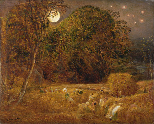 """""""The Harvest Moon"""" by Samuel Palmer.  From WikiMedia."""
