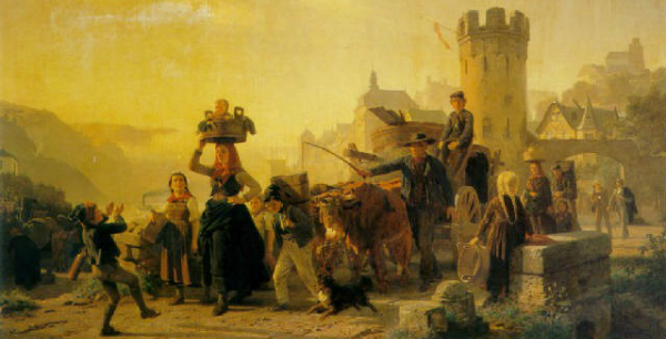"""Christian Eduard Böttcher-""""Setting Out For the Grape Harvest.""""  From WikiMedia."""