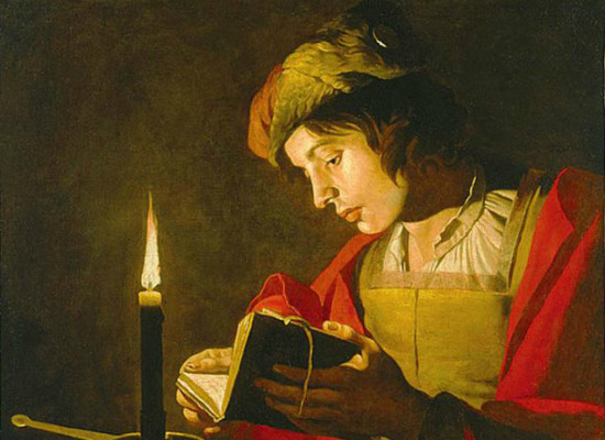 """""""Young Man Reading by Candlelight"""" by Matthias Storm.  From WikiMedia."""