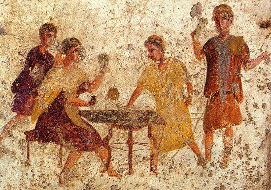 Dice playing in Pompeii (fresco) from WikiMedia.