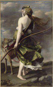 """Diana the Huntress"" by Orazio Gentileschi.  From WikiMedia."