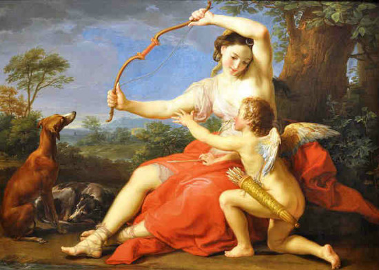 """Diana with Cupid"" by Pompeo Batoni, from WikiMedia."