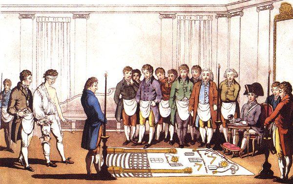 Masonic Initiation from 1805.  From WikiMedia.