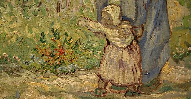 """Detail of Vincent Van Gogh's """"First Steps After Millet."""""""
