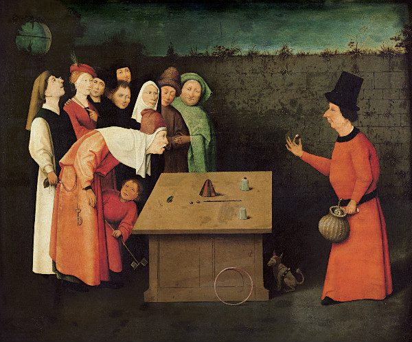 """""""The Conjurer"""" by Hieronymus Bosch.  From WIkiMedia."""