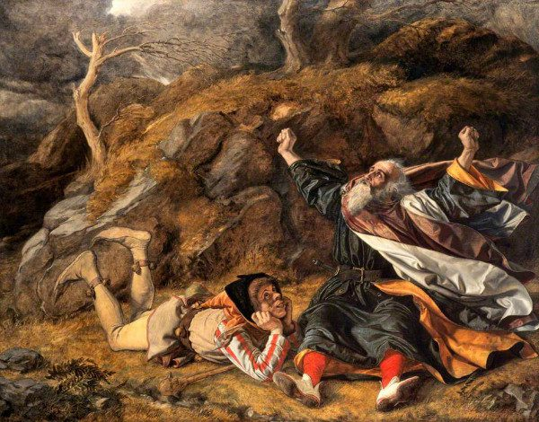 """""""King Lear and the Fool in the Storm"""" by William Dyce.  From WikiMedia."""
