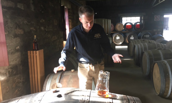 This is Iain sharing some Scotch directly from the barrel at Glen Moray.