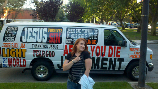 The Jesus Van in front of an Iron Maiden concert.  That's my kick-ass wife who is the most important thing in my life.