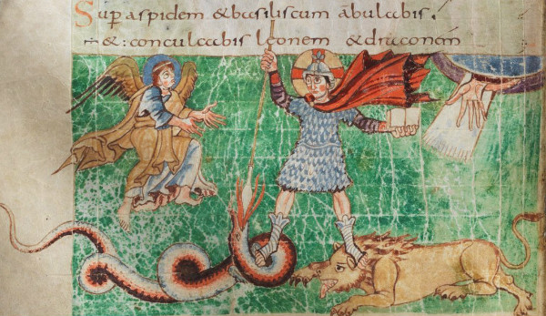 More details 9th-century depiction of Christ as a heroic warrior (Stuttgart Psalter, fol. 23)  From WikiMedia.