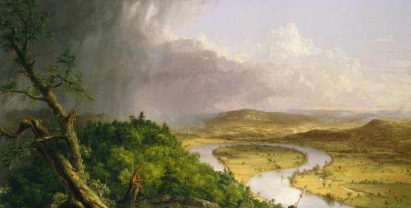 """The Oxbow, View from Mount Holyoke, Northampton, Massachusetts, After a Thunderstorm"" by Cole Thomas.  From WikiMedia and the New York Metropolitan Museum of Art."