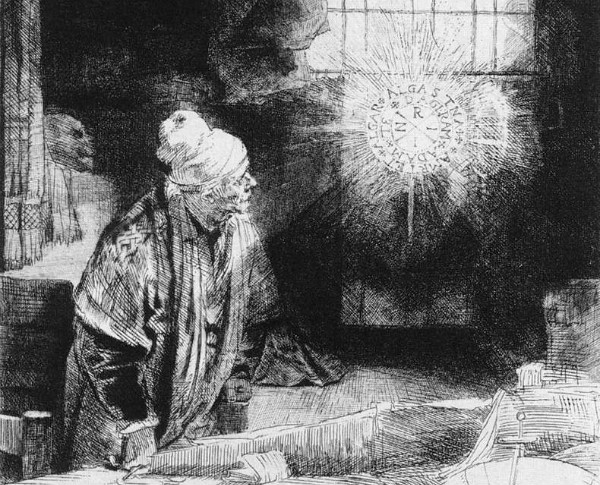 """Rembrandt's """"Faust.""""  It's a Fausty kind of day."""