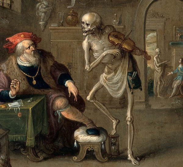 """Death and the Miser"" by Frans II van Francken.  From WikiMedia."