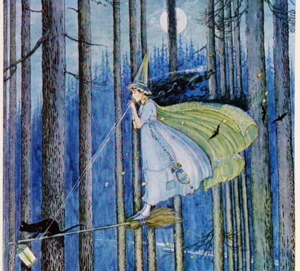 """""""The Witch on Her Broom Stick"""" by Ida Rentoul Outhwaite.  From WikiMedia."""