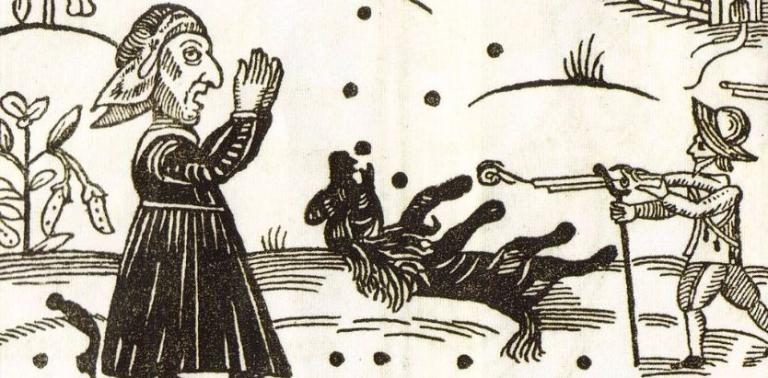 """A Witch Watching the Death of Boye"" from 1644 via WikiMedia."