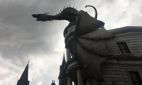 Dragon on top of Gringots.