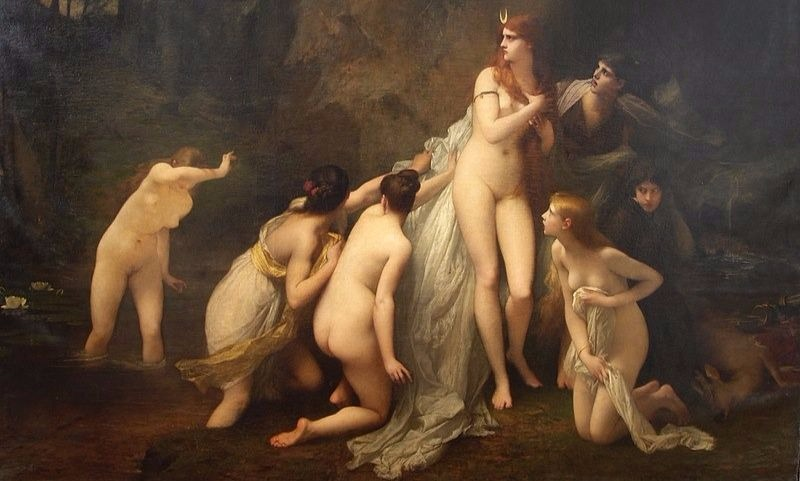 """Diana Surprise"" by Jules Joseph Lefebvre.  From WikiMedia."