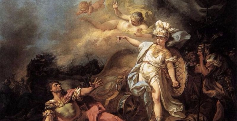 """""""The Combat of Mars and Minerva"""" by Jacques-Louis David.  From WikiMedia."""