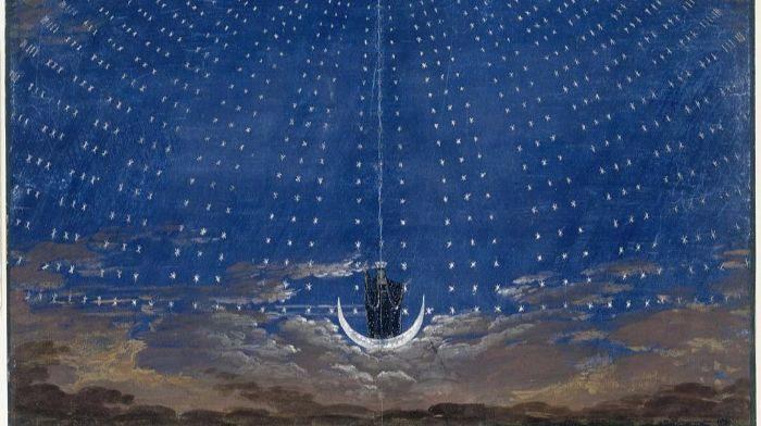 """""""Stage set for Mozart's Magic Flute"""" by Karl Friedrich Schinkel.  From WikiMedia."""