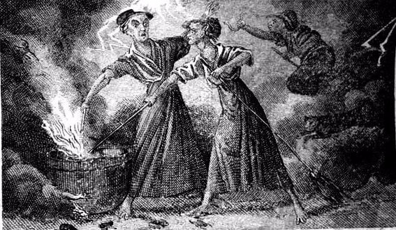 """Calef Witches"" from the book ""More Wonders of the Invisible World"" (1828)  From WikiMedia."